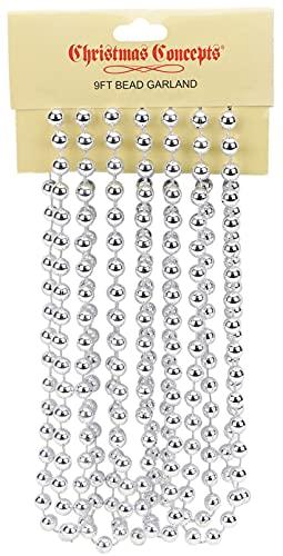 Christmas Concepts 9ft Christmas Bead Chain - Christmas Bead Garlands - Christmas Decorations (Silver)