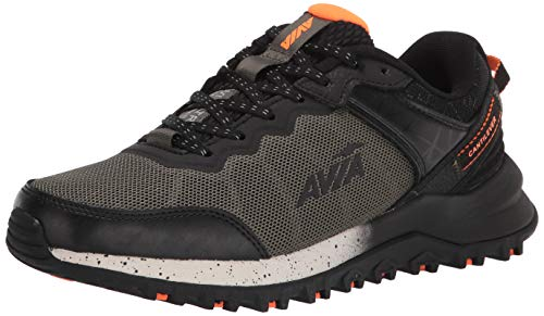 Avia Men's Avi-Ultra Trail Running Shoe, Black/Grape Leaf/Shocking Orange, 11.5