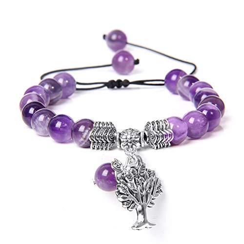 wangk Life Tree Encanto Pulseras para Hombres Naturales Lapis Lazuli Abalorios Pulsera Mujeres Moda Trenza Ajustable Pulsera Parejas joyería Amethyst 🔥