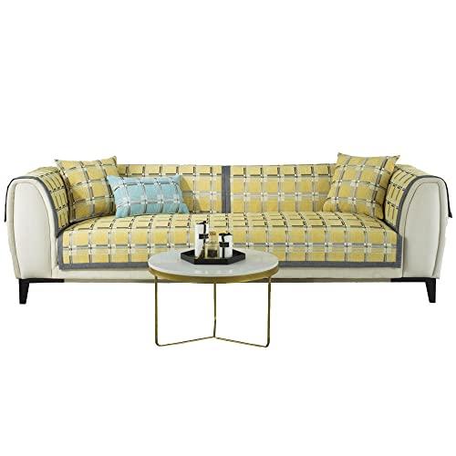 Funda se Puede Empalmar de Sofá Funda para sofá Antideslizante Protector Cubierta de Muebles,Cojín de Chenilla a Cuadros para sofá,Amarillo_45×45cm(Funda de Almohada)