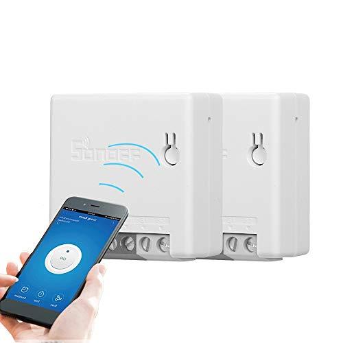 SONOFF Mini R2 Interruttore WiFi 2 Pezzi, Fai-da-Te Interruttore Alexa Smart Switch Telecomando per Elettrodomestici, Controllo Vocale Funziona con Alexa Google Home Nest IFTTT