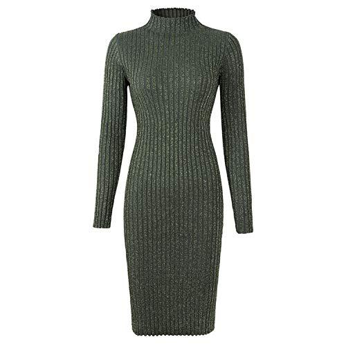 Winter Lange Pailletten Glänzende Frauen Kleider Elastisch Gestreifte Slim Strick Etuikleid Midi Kleid Gr. One size, armee-grün