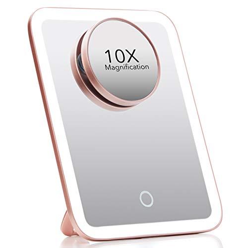 Fancii Espejo de maquillaje portátil LED con 3 ajustes de luz ajustables, 1 espejo grande y espejo de aumento desmontable de 10...