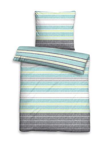 Castell 0060899 Set biancheria da letto con fodere per cuscini Raso di cotone 1x 135x200 cm + 1x 80x80 cm, ciel