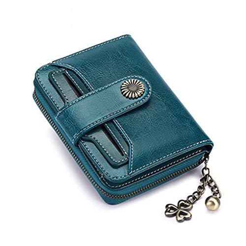 Yiwjby Famosa Femminile Portafoglio Portafoglio Donna Breve Portafoglio Pulsante qualità Coin Purse delle Donne della Borsa Supporto Lady Quality Card Blue