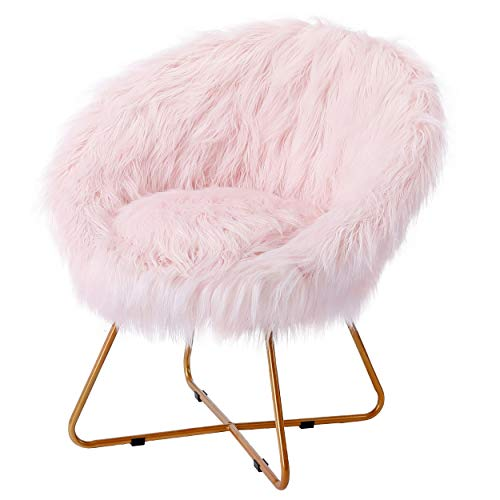 BirdRock Home Pink Faux Fur Papasan Chair with Pale Gold Legs - Kids Bedroom Moon Chair - Comfy Wide Cushion Seat - Living Room Saucer - Metal - Fluffy Round Seat - Circle