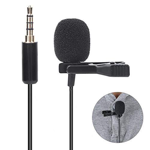 Lavalier-microfoonset met dubbele revers, omnidirectionele clip-on microfoon + draagbare tas + 3 * windkapkap + reversclip + verlengkabel van 2 m + 3-polige converteerkop, 360 graden rotatie