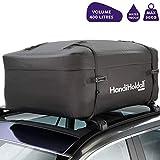 HandiHoldall- Sac imperméable XL 400l pour Barres de Toit ou galerie de Voiture, Base Pliante, Noir