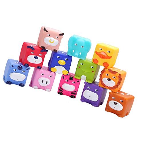 Tomaibaby 12Pcs Juguete para Apretar Animales Bloques de Construcción de Animales Divertidos Cubos Juegos de Apilamiento para Niños Pequeños para Bebés Juguetes Educativos Educativos Regalo