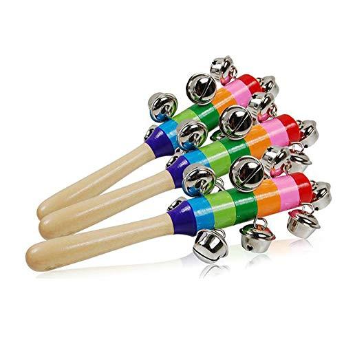Baby Spielzeug Nette Baby-Klingel-Rasseln Spielzeug Regenbogen-Kinderwagen Krippe Griff aus Holz Glocke Stock schüttelt Spielzeug Neugeborenes Baby Rattle Ton Spielzeug (A Show) Asun