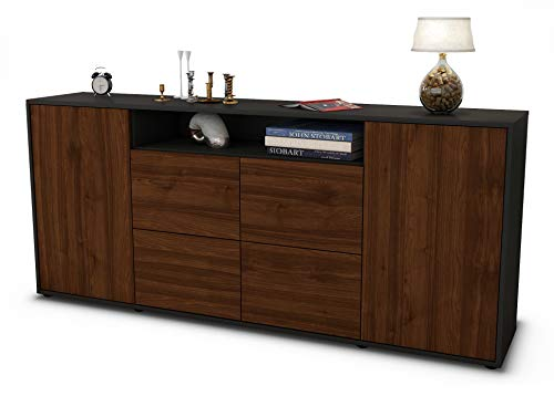 Stil.Zeit Sideboard Ephenia/Korpus anthrazit matt/Front Holz-Design Walnuss (180x79x35cm) Push-to-Open Technik