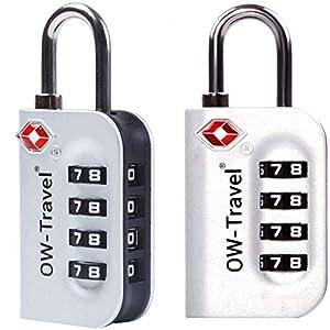 Candados TSA Combinacion Antirobo Maleta - Alta Seguridad Combinación 4 Digitos. Cerradura para Funda Maletas de Viaje, Caja Herramientas, Taquillas Vestuario, Locker : Candados Numerico Plata 2