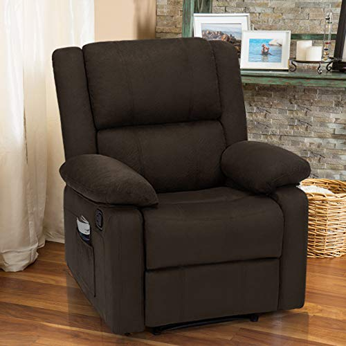 Esright Recliner Chair with Massage Heated Function, Modern Fabric Lounge Chair with Side Pocket, Single Sofa Seat Living Room Chair (Coffee)