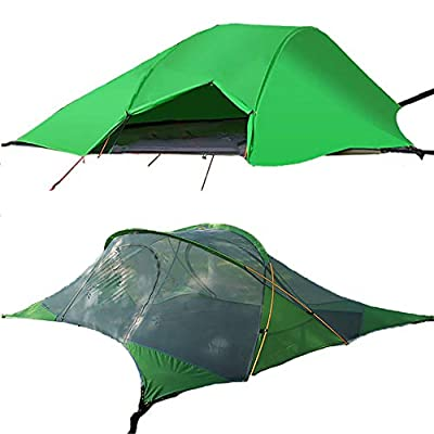 WintMing 2 Person Camping Hammock with Mosquito net and rain Fly Suspended Triangle Tree Tent Hammocks (Green)
