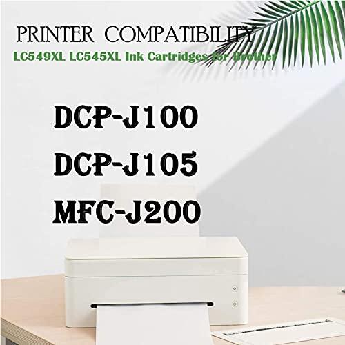 SXCD LC549 LC545XL - Cartuchos de tinta para impresora Brother DCP-J100 DCP-J105 MFC-J200 de alto rendimiento compatible con 4 colores (BK Y M C)