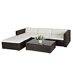 (6034) POLY RATTAN Lounge Brown garden set sofa set polyrattan garden furniture