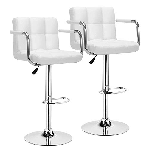Ygqbgy White Desk Chairs with Wheels Modern PU Leather Office Chair Adjustable Home Computer Executive Chair on Wheels 360° Swivel (Color : White)