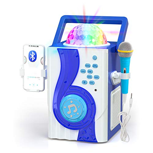 IROO Kids Karaoke Machine Toy, Wireless Bluetooth Speaker with Microphone and Controllable LED Lights, Portable Speaker Christmas Birthday Home Party for Android/iPhone/PC or All Smartphone (Blue)