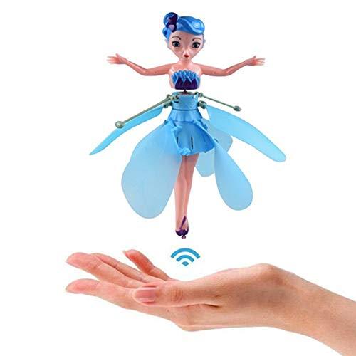 Fliegende Fee Puppe Mit Lichter Infrarot Induktionssteuerung Rc Hubschrauber Kinder Spielzeug Ballett Mädchen Fliegen Prinzessin Spielzeug (blue)