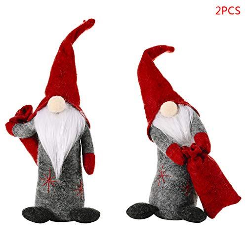 Buran - Juego de 2 accesorios para casa de muñecas de Navidad, sin rostro, diseño de gnomo sueco, hecho a mano, escandinavo