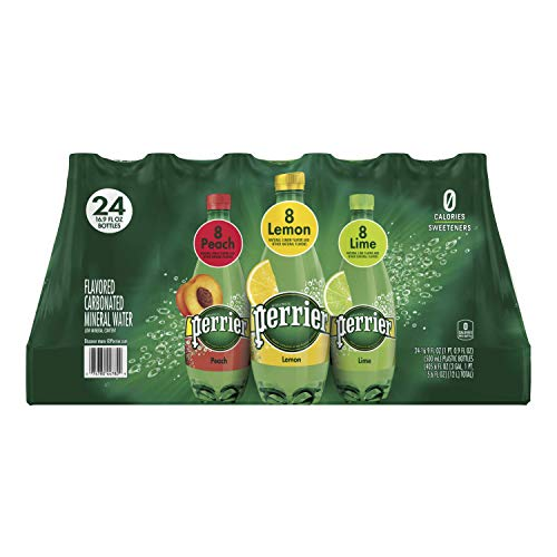 Perrier Carbonated Mineral Water, Assorted Flavors, 16.9 fl. oz. Plastic Bottles (24 Pack)