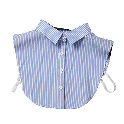 Tandou Krageneinsatz Damen Baumwolle Fake Kragen Blusenkragen Einsatz (Blauer Streifen)