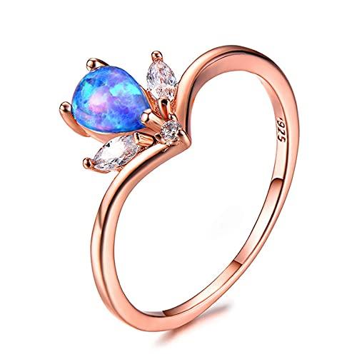 Anillos de ópalo de fuego elegantes para mujer, piedra de arcoíris en forma de lágrima, anillo de piedra de circonita roja, joyería de diseñador