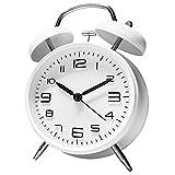 ANHEQ 大音量 目覚まし時計 アナログ めざまし時計 おしゃれ ベル 連続秒針 卓上時計 静音 置時計 起きれるめざまし時計 (白)