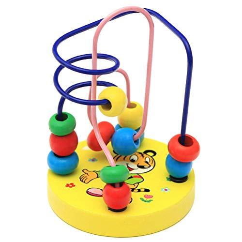 TOYANDONA Motorikschleife mit Perlen Labyrinth Motorikwürfel Aktivitätswürfel Motorikspielzeug Maze Abacus Spielzeug für Kinder Baby (Tiger)