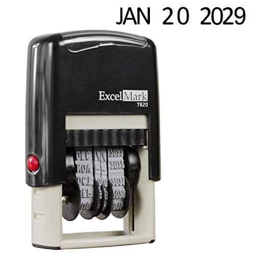 ExcelMark 7820 Date Stamp Self-Inking Rubber – Great for Shipping, Receiving, Expiration and Due Dates – Black Ink