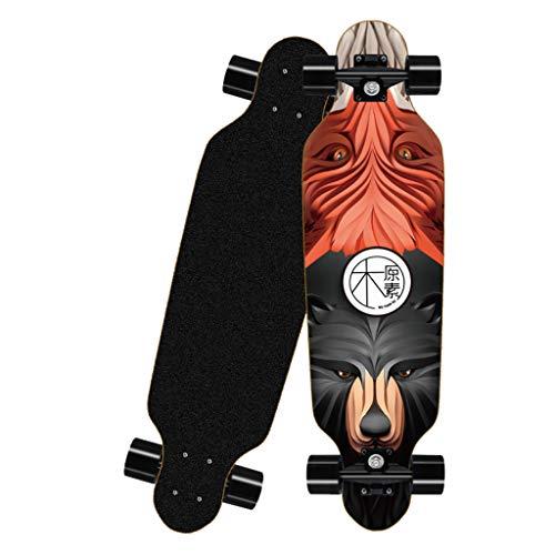 Deloito Longboard Straßen Skateboard 80cm Vierrädriges für Jungen Mädchen Skateboards Erwachsene Kinder Anfänger Bürsten Straßenbrett (B-03)