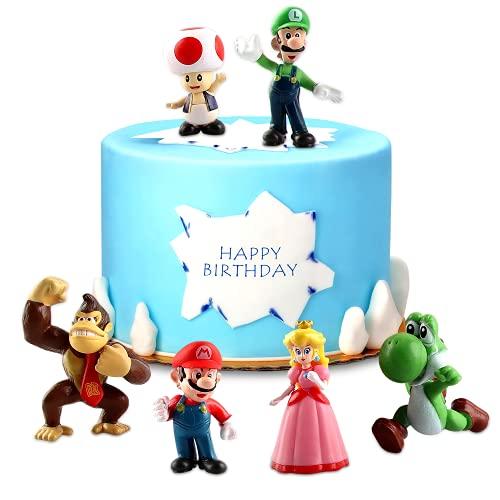 Decoración de Tartas Cumpleaños, Super Mario Cupcake Toppers,Super Mario Toys,Figuras de Super Mario Bros para Decoración de Tartas, Suministros para Decoración de Tartas,Decoración de Fiestas (6 pcs)