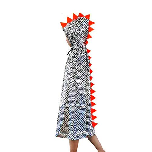Attitude Studio Metallic Spike Cape, Hooded Scale Cloak, Dragon Dinosaur Medieval Accessory for Dress Up Pretend Play Fantasy Robe, 40 Inch One Size Halloween Costume for Kids Boys Girls - Silver