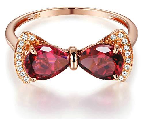 Aeici Anillos Boda Oro rosa 18k, Anillos De Matrimonio Turmalina Diamante 1.5ct, Pera, Talla 18,5