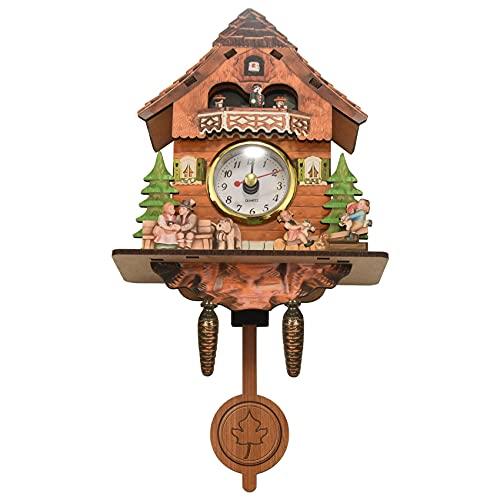 Luntus Reloj de Pared de Cuco de Madera Antiguo Bird Time Swing Alarm Watch Home Art Decor 002