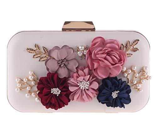 PANAX Schöne Damen Clutch mit Perlen und Blumen in Weiß - Frauen Abendtasche, Ideal für Parties, Feiern, Veranstaltungen, Hochzeiten, Theaterbesuche