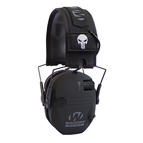 Walker's Razor Slim Shooter Electronic Hunting Folding Hearing Protection Earmuffs with 23dB Noise Reduction and Sound Amplification, Black Punisher