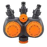 Oubit Regolatore di irrigazione Meccanico-ABS + PPE Interruttore del regolatore di Acqua da Giardino Materiale G3 / 4 `` con Valore del Timer Meccanico di irrigazione a Doppia Testa