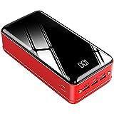 SPARKX 50000Mah Chargeur Portable Grande Capacité Batterie Externe Charge Rapide 3 Ports USB Et 3 Entrées, Compatibles avec L'iphone, Les Téléphones Android Et Tablettes,Rouge