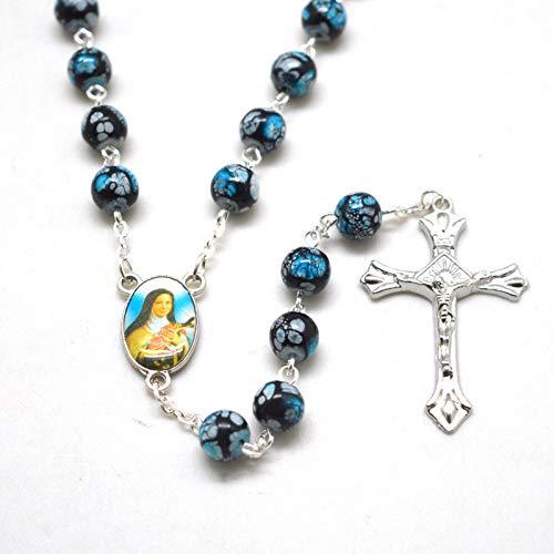 Collares De Rosario De St Rita con Cuentas De Cristal De Moda, Cuentas Redondas De Flores Negras Y Azules, Tamaño 8 Mm