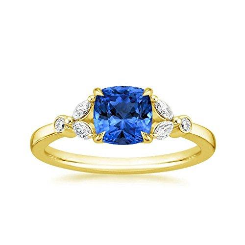 1,80Ct corte cojín anillo de diamante color azul zafiro y anillo de compromiso de diamante Gemstone elegante anillos 14K oro amarillo todos los tamaño I J K L M N O P Q R I)