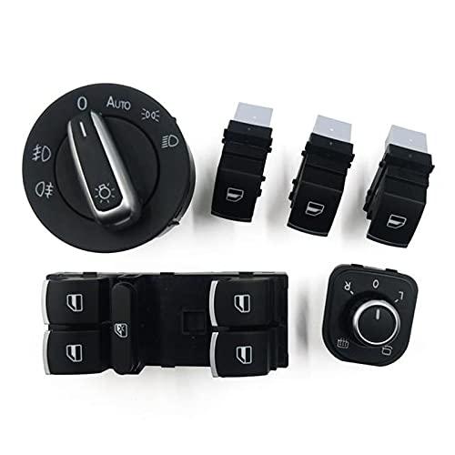 Interruptor de Ventana de Coche para VW Golf MK5 6, para Jetta MK5 Passat B6 B7 Tiguan 5ND 959 565A 5ND 959857 5ND941431B, Juego de Interruptor de Ventana de Interruptor de Faro de Espejo