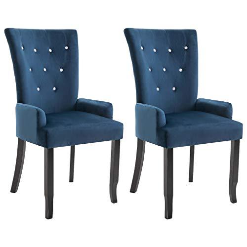 vidaXL 2X Esszimmerstuhl mit Armlehnen Rückenlehne Hochlehne Essstuhl Küchenstuhl Lehnstuhl Polsterstuhl Wohnzimmerstuhl Sessel Stühle Dunkelblau Samt