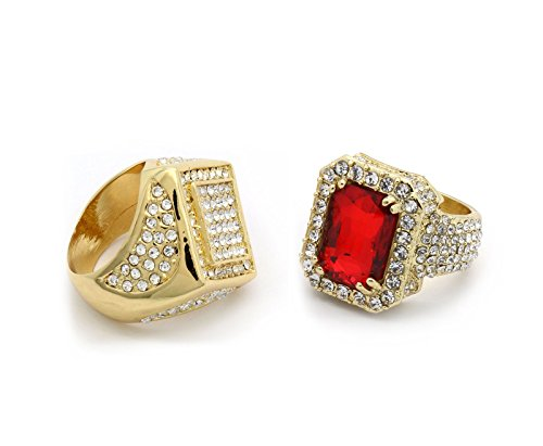 Men's Gold Tone Hip Hop Red Ruby & Claw Curved Sides CZ Ring Available Sizes 7 8 9 10 11 12 (7)