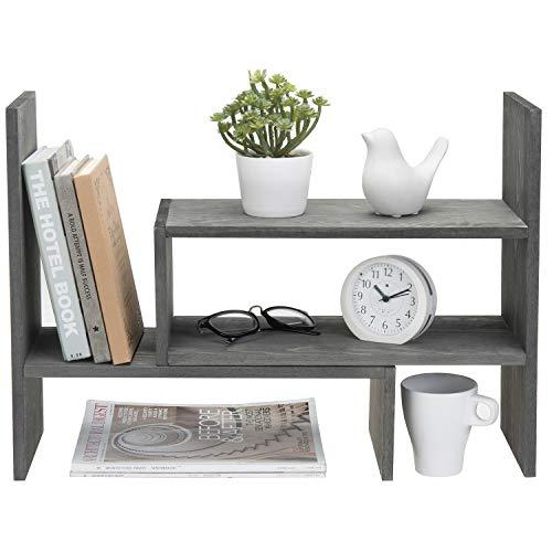 MyGift Adjustable Vintage Stone Gray Solid Wood Desktop Storage Organizer Display Shelf Book Rack, Home Office Desk Decor Bookshelf