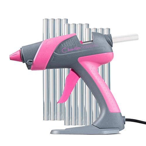 "Chandler Tool Hot Glue Gun - 60 Watt Full Size Heavy Duty High Temp Industrial Hot Melt Glue Gun Kit with 10 Pcs Glue Sticks & Patented ""Stand-Up"" Base Stand, for Arts & Crafts, DIY & More (Pink)"