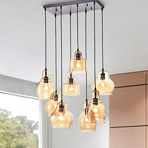 8-Light Cluster Bell Pendant Modern Contemporary Glass Dimmable