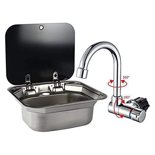 PINGHLIZHA Flat Store Caravan Boot RV Edelstahl Handwaschbecken Waschbecken mit gehärtetem Glasdeckel (Color : Sink with Faucet 3)