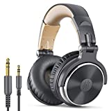 OneOdio Over Ear Headphone, Wired Bass Headsets with 50mm Driver, Foldable Lightweight Headphones with Shareport and Mic for Recording Monitoring Mixing Podcast Guitar PC TV - (Grey)