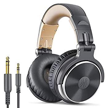 OneOdio Over Ear Headphone Wired Bass Headsets with 50mm Driver Foldable Lightweight Headphones with Shareport and Mic for Recording Monitoring Mixing Podcast Guitar PC TV -  Grey